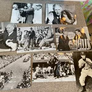Lot # 25 - Connie Mack original press photos with date stamp and news clipping on back
