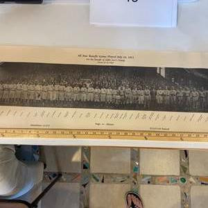 Lot # 40  - 1911 All-Star benefit game team photo reproduction 1988, 486/10,000