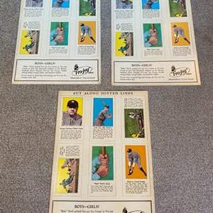 Lot # 46 - Babe Ruth uncut trading cards 3-sheets