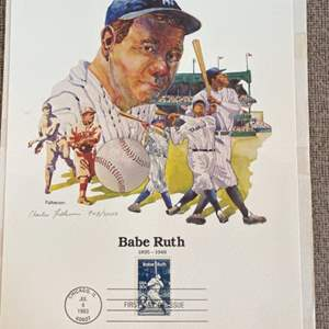 Lot # 48 - Babe Ruth first day of issue stamp with artist signature Arthur Fulkerson