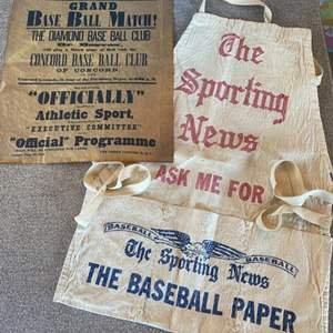 Lot # 60 - Original 1800s Base Ball poster and Sporting News apron