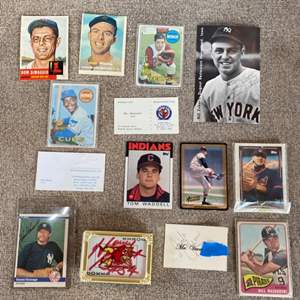 Lot # 74 - Trading cards Ernie Banks rookie card and two unknown signatures
