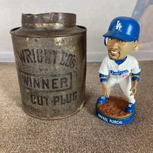 Lot # 80 - Vintage cut plug tobacco tin with dodgers bobble head