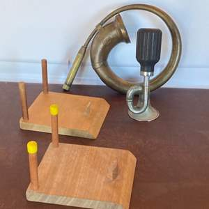 Lot # 123 - Vintage horns and football stands