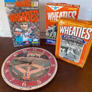 Lot # 125 - Wheaties cereal boxes & clock