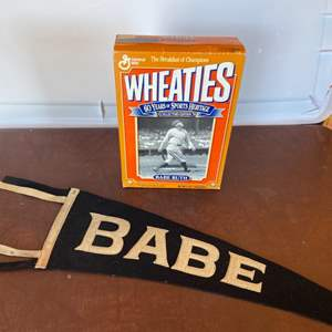 Lot # 126 - Babe Ruth pennant and Wheaties box