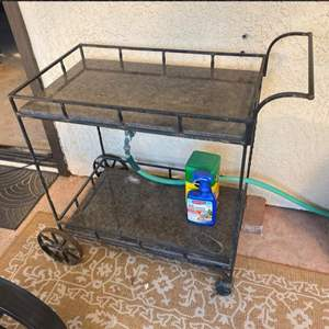 Lot # 150 - Iron and marble rolling cart only