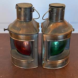 Lot # 155 - Vintage decor port and starboard lights (Interior oil lamps intact)