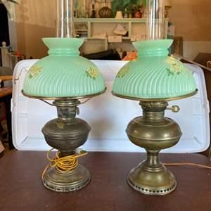 Lot # 173 - Brass electrified hurricane lamps
