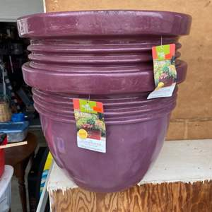 Lot # 187 - 2 Large heavy plastic pots - New with tags