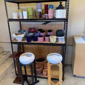 Lot # 113 - Assorted pots and stands with shelving