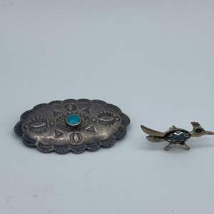 Lot # 4 - Sterling and turquoise pin & Road Runner Sterling and marcasite pin (8.2g total weight)