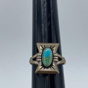 Lot # 9 - Silver and turquoise ring (3.4g total weight)