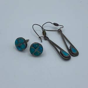 Lot # 15 - Silver and turquoise earrings