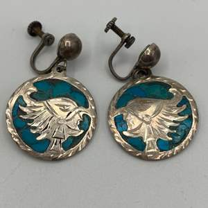 Lot # 16 - Sterling and turquoise clip on earrings