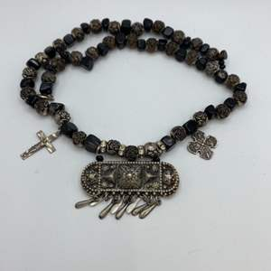 Lot # 24 - Sterling charms and black onyx necklace