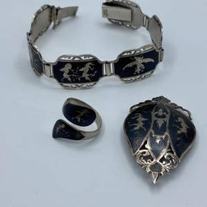 Lot # 26 - Siam sterling bracelet, brooch and ring(33.7g)