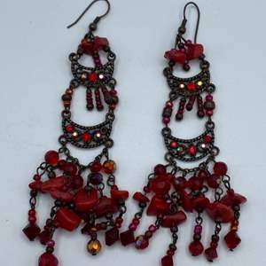 Lot # 27 - Red coral and crystal chandelier earrings