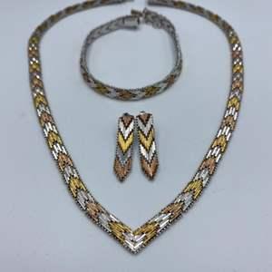 Lot # 28 - Sterling necklace, bracelet and earring set (50.1g)