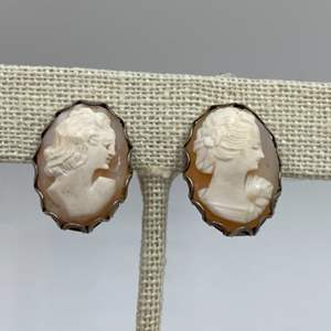 Lot # 22 - Sterling and cameo clip on earrings