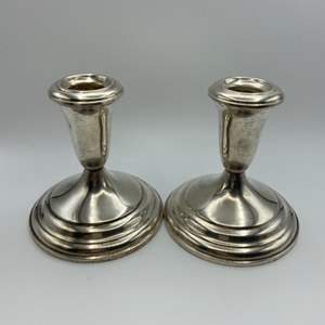 Lot # 37 - Two Towle sterling weighted candleholders
