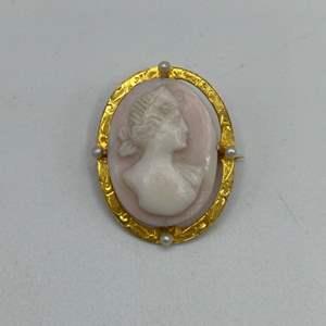 Lot # 46 - Cameo brooch set in 10 karat gold