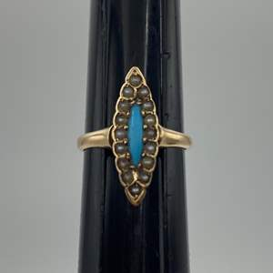 Lot # 59 - 10 karat gold Victorian ring with seed pearls and turquoise (2.1g total weight)