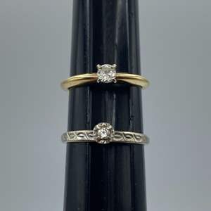 Lot # 63 - Two 14 karat gold and diamond rings (3.9g total weight)