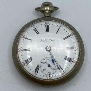 Lot # 75 - Hamilton Nickel 17 Jewel pocket watch