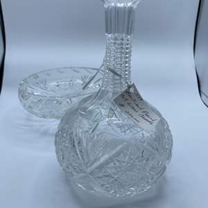 Lot # 80 - Cut crystal decanter and footed bowl