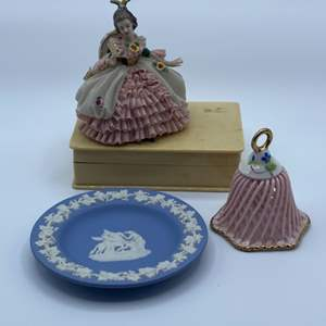 Lot # 83 - Wedgewood jasperware small plate celluloid jewelry box and porcelain figurine and bell