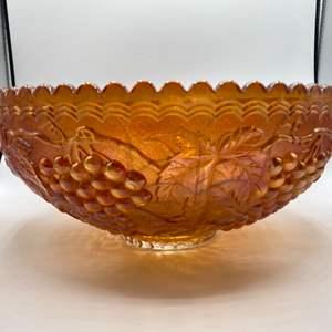 Lot # 105 - Large carnival glass bowl