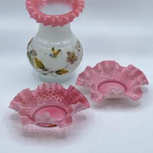 Lot # 107 - Frosted enameled glass vase and bowls