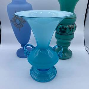 Lot # 114 - Victorian French opaline and two Czechoslovakian vases
