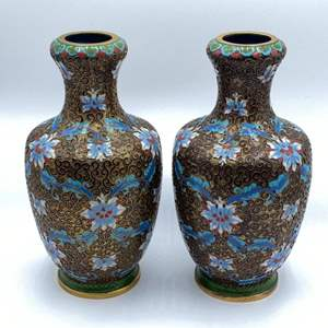 Lot # 117 - Pair of matching Champlevé vases