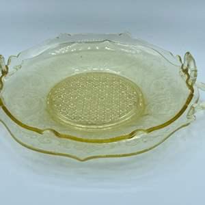 Lot # 124 - Yellow depression glass serving plates