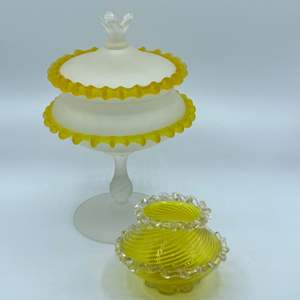 Lot # 125 - Blown satin glass with applied yellow trim and a Steven and Williams antique vase