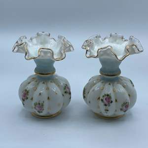 Lot # 127 - Matching milk glass vases hand-painted with gold trim