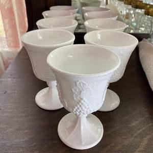 Lot # 132 - Nine milk glass goblets