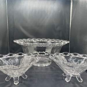 Lot # 157 - Beautifully laced glass and footed bowls