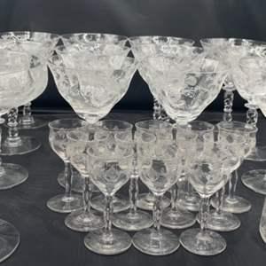 Lot # 160 - Etched crystal stemware