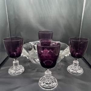 Lot # 161- Fostoria American Lady Goblets & Baroque Bowl