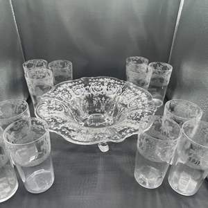 Lot # 162 - etched crystal footed bowl and tumblers