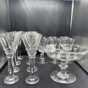 Lot # 163 - vintage stemware and footed bowl