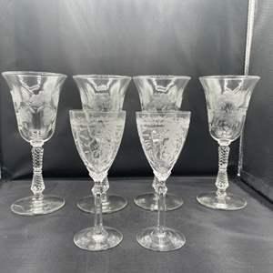 Lot # 164 - Etched crystal stemware