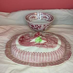 Lot # 180 - Red transferware covered partitioned dish and bowl