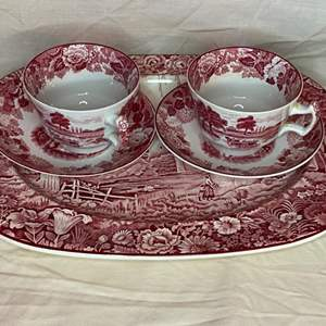 Lot # 182 - Wood & sons red transferware platter and 2 cups with saucers