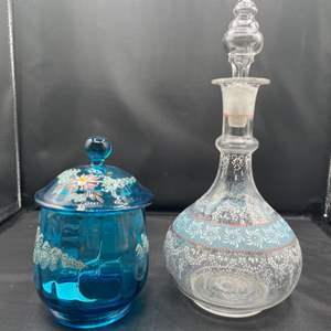 Lot # 197 - Handpainted glass jar and decanter