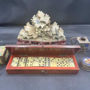 Lot # 210 - Soap stone carving Domino's and antique trinket boxes