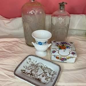 Lot # 212 - Antique etched bottles and trinket holders